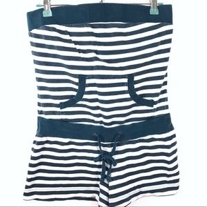 Roxy Women's Strapless Romper Shorts striped Sz M